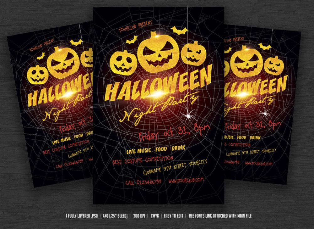 picture regarding Free Printable Halloween Flyer Templates titled Halloween Celebration Flyers Cost-free Printable