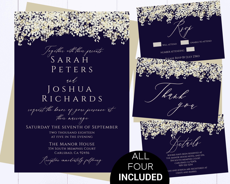 Navy Wedding Invitation Printable