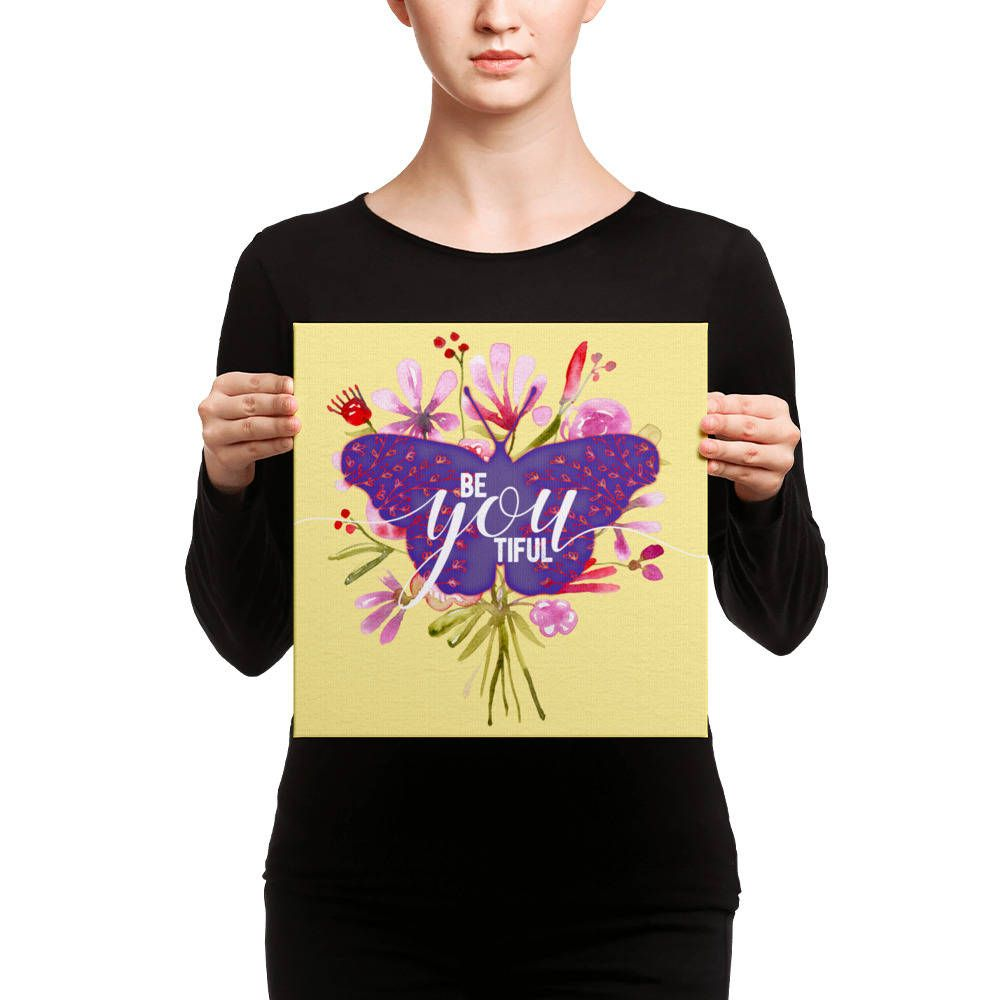 Beautiful Butterfly Canvas Wall Art Be-You-Tiful Valentines ...