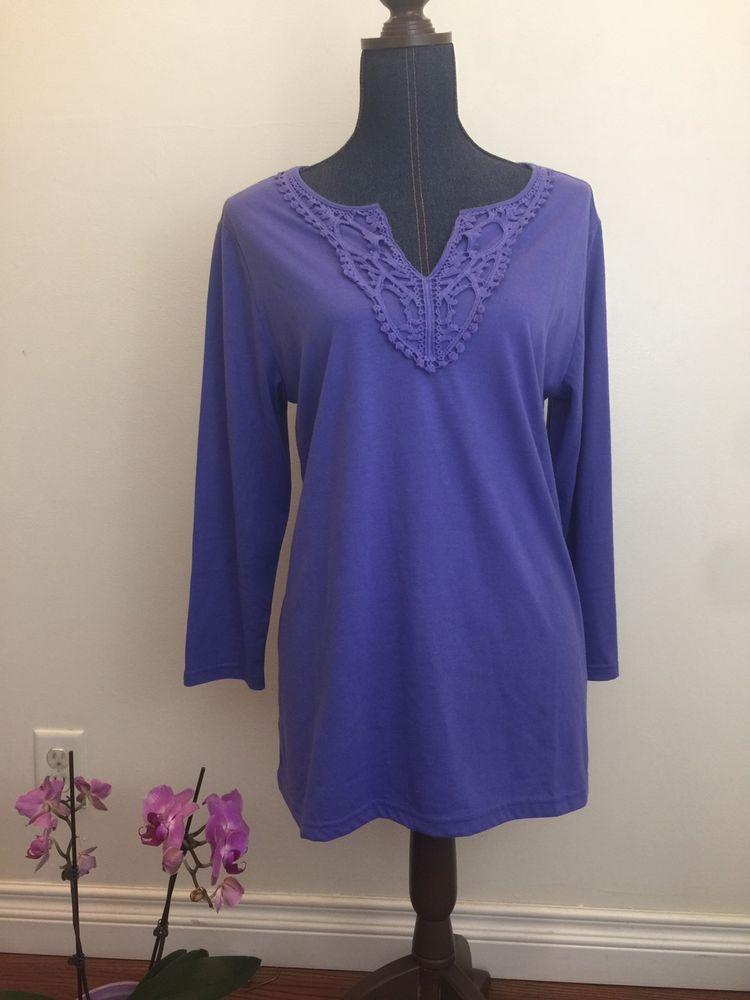 Melrose Chic Woman's XL Long Sleeve Purple Shirt NWT Decorative V Neck    eBay