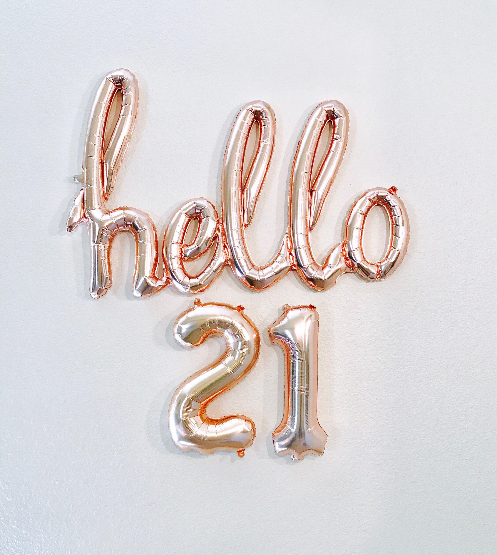 Rose Gold Hello 21 21st Birthday Balloons
