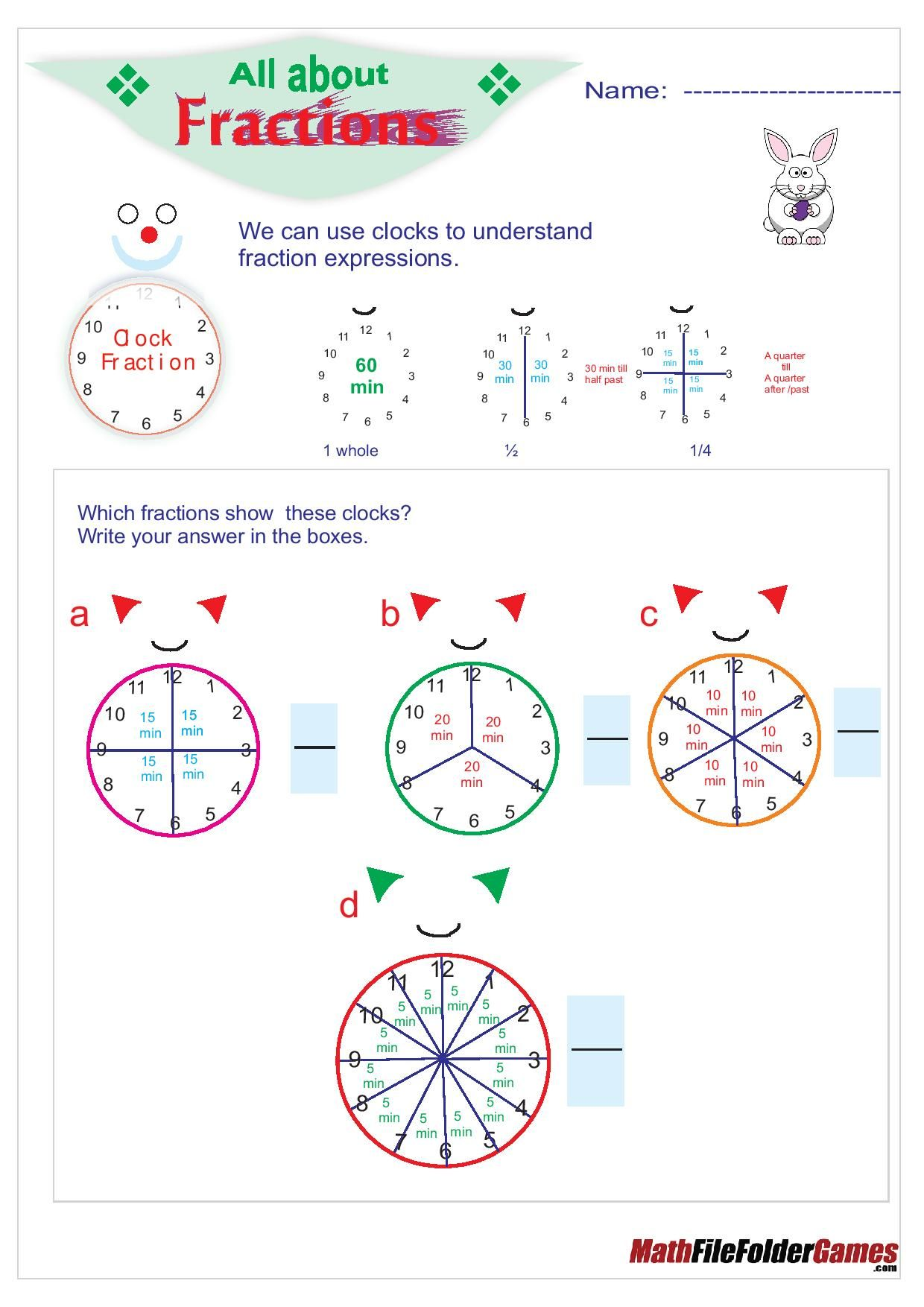All About Fractions Poster Amp Worksheets
