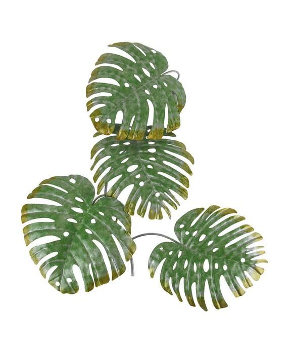 17 Inch Green Metal Palm Leaf Sculpture Wall Hangi