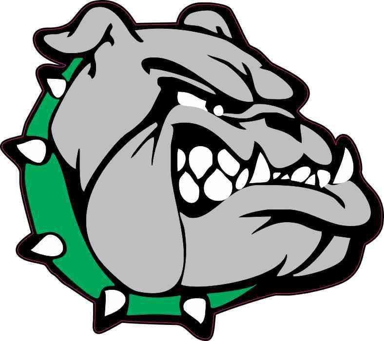 5in X 4 5in Right Facing Green Collared Bulldog Sticker Bulldog