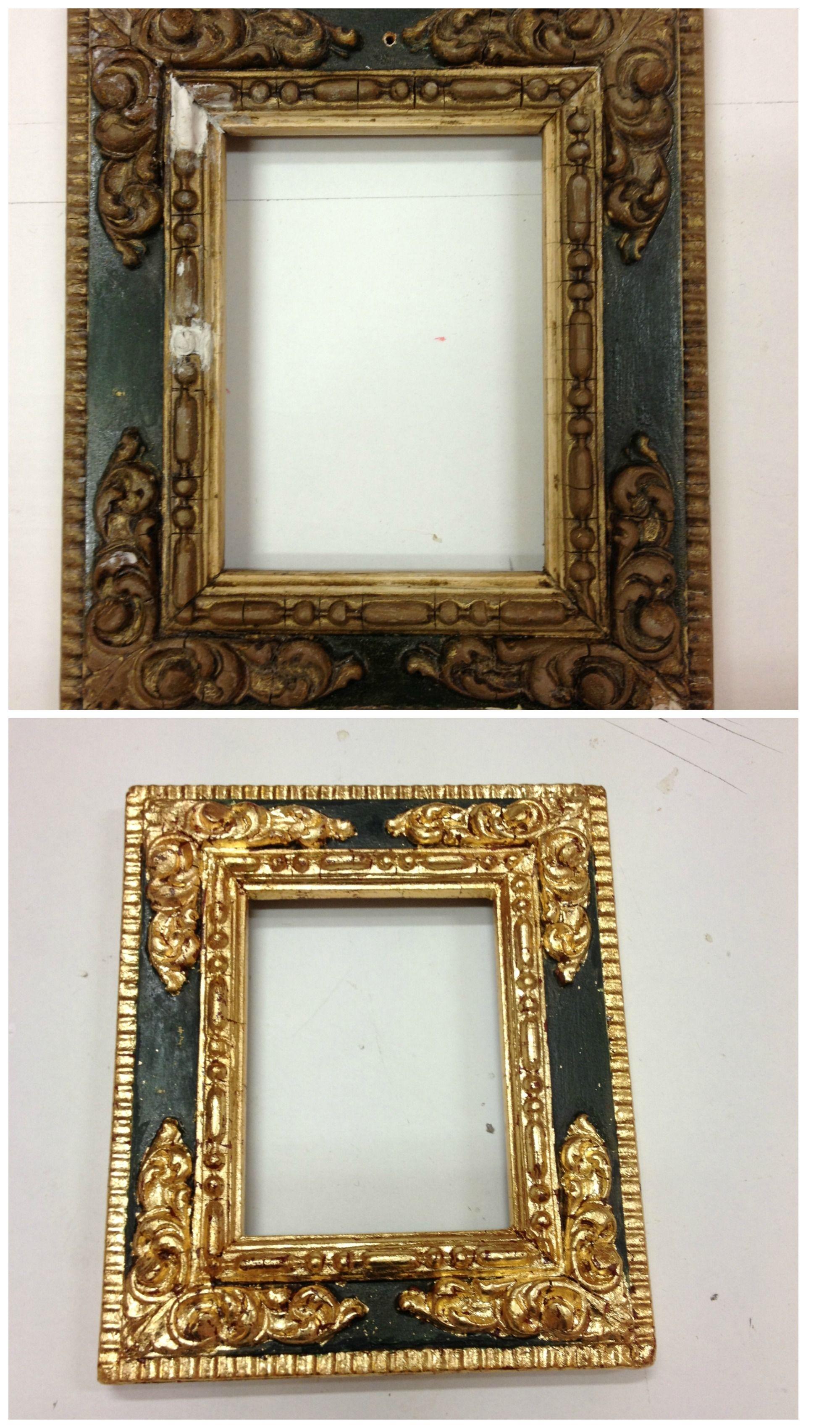 Restauración de #marco #antiguo mediante las técnicas de #dorado ...
