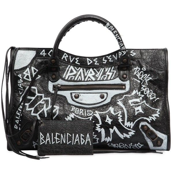 Balenciaga Women Classic City Graffiti Leather Bag 2 445 Liked On Polyvore Featuring Bags Handbags Shoulder Real Purses