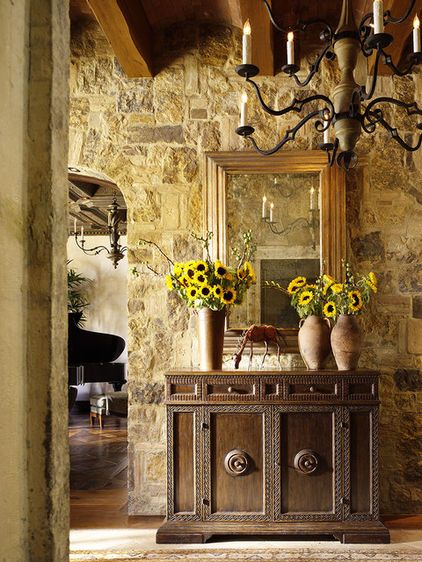 Stone wall, ceiling beams, foyer inspiration. | Tuscan | Pinterest ...