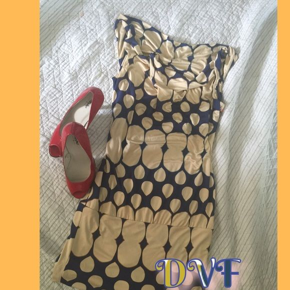 DVF cowl neck dress adorable! ONE DAY ONLY SALE Perfect for work,luncheon, date night. Blue with beige circles that have red, gold and blue outlines so can be worn and brought out w several different colors! So comfy! Diane von Furstenberg Dresses