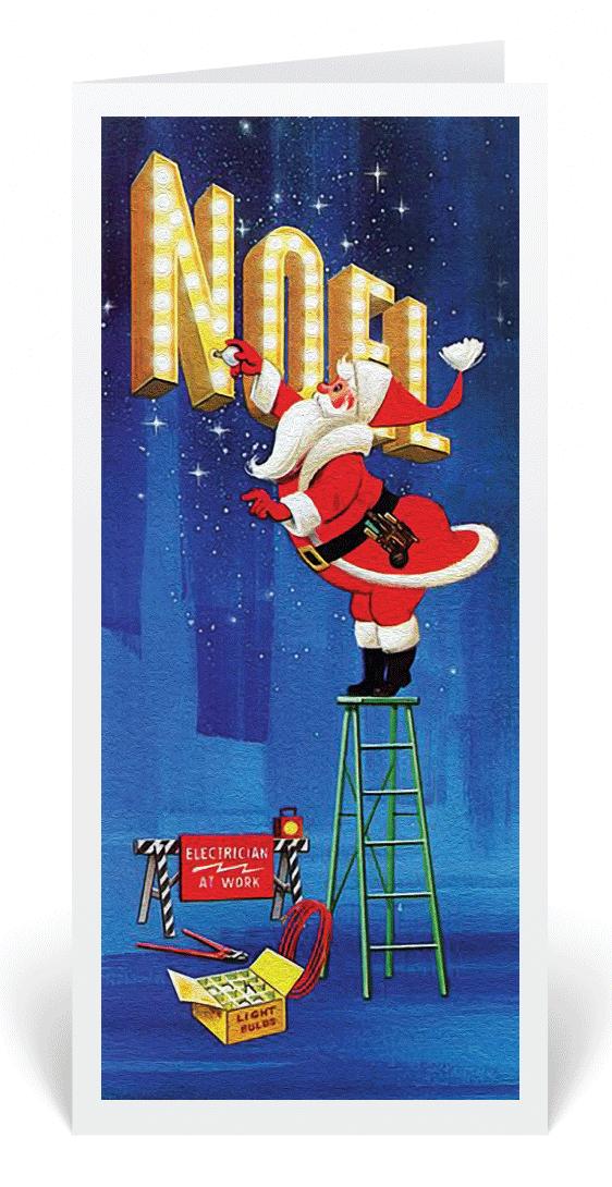 1950\'s Vintage Santa Electrician Christmas Card, retro Santa ...