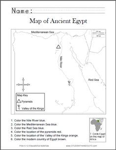 Map of Ancient Egypt Worksheet for Kids, Grades 1 6   Free to
