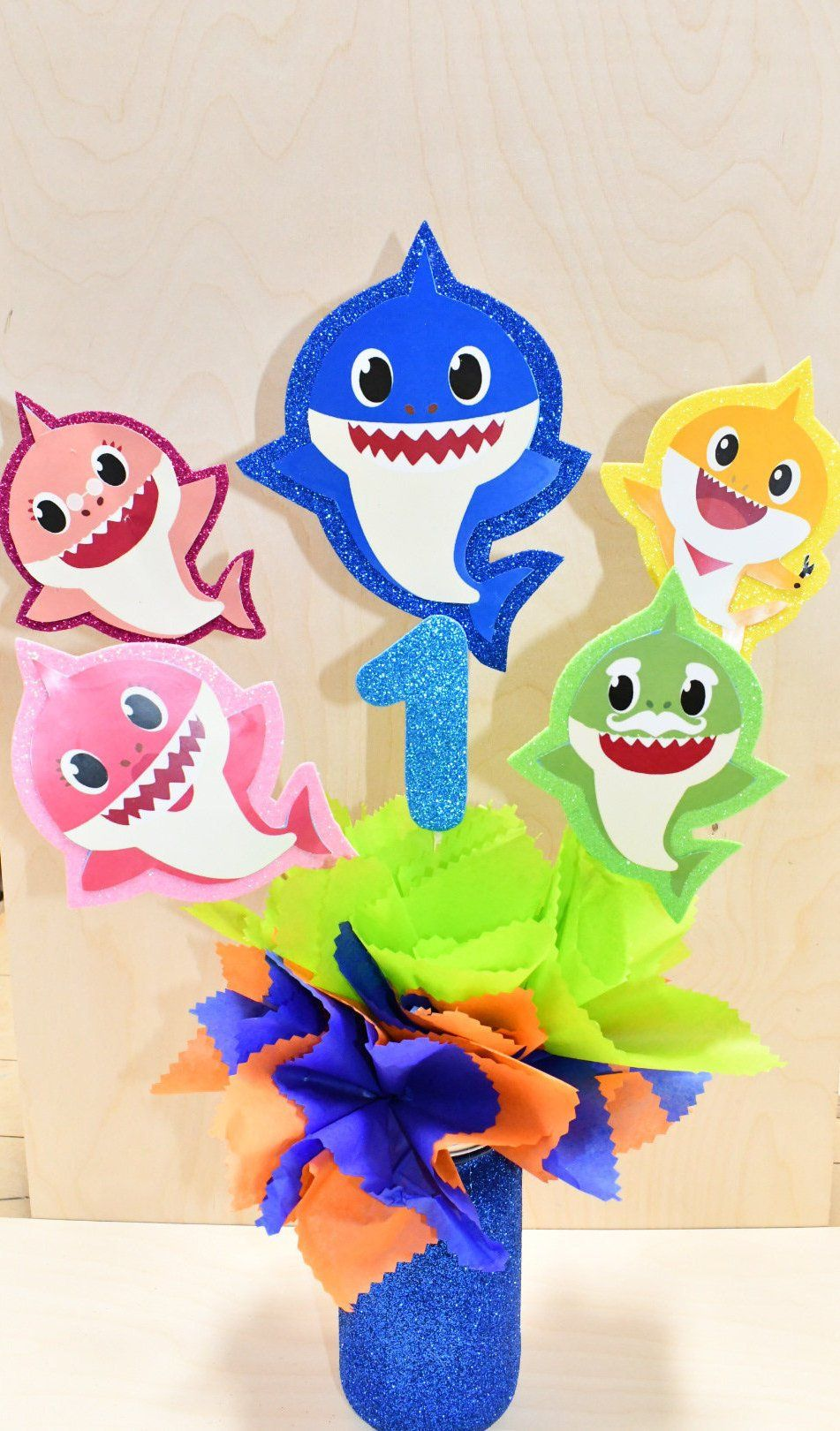 Shark inspired party centerpieces 1st 2nd 3rd birthday
