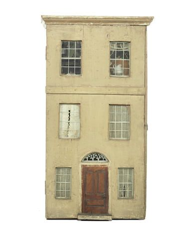 An early painted wooden dolls house and contents, English circa 1848, simple and old. .....Rick Maccione-Dollhouse builder www.dollhousemansions.com