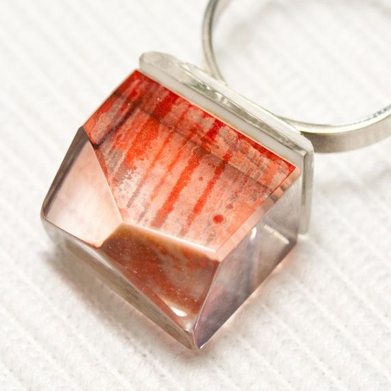Glass sterling silver ring Prismes04 by belnavarro on Etsy, $89.00