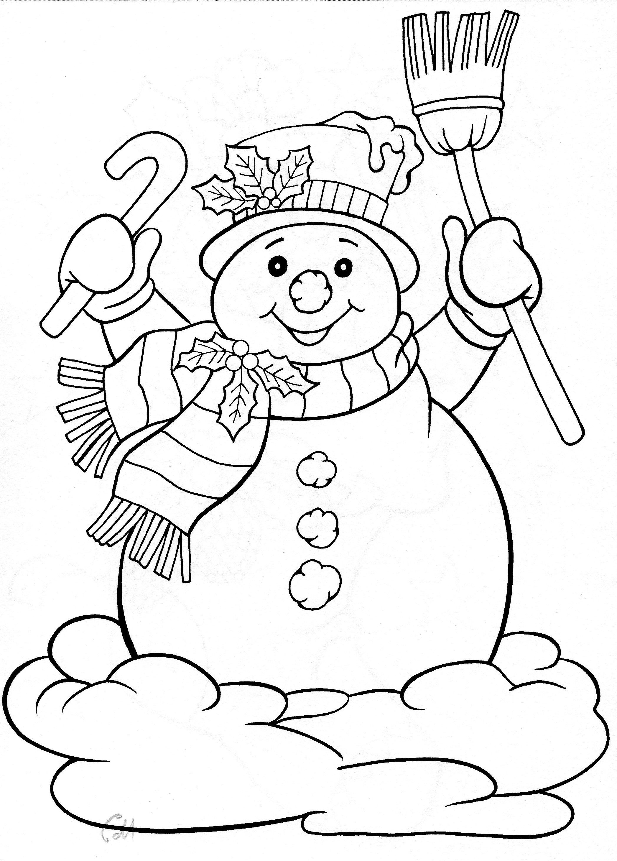 snowman for winter holiday Drawing template coloring embroidery