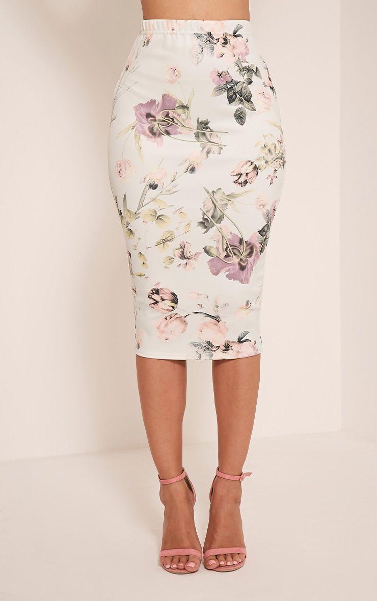 Lisette mint floral print midi skirt gonne menta e floreale