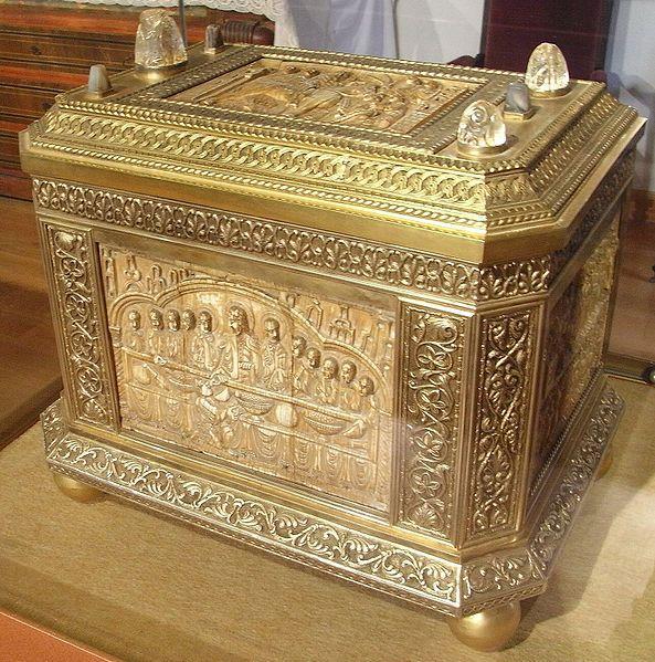 Arqueta de San Felices,epoca medieval,esta en el Monasterio de San Millan en España