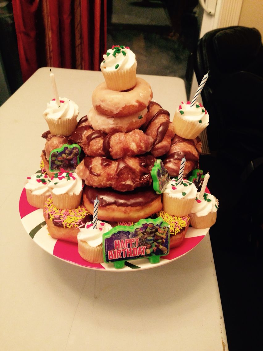 My son loves doughnuts and cupcakes so I made this for his birthday