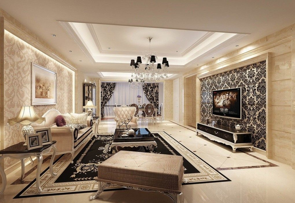 Elegant living room furniture fed man real estate llc for Wallpaper for living room modern