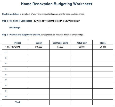 Image result for house interior budgeting worksheets house ideas - house renovation budget spreadsheet