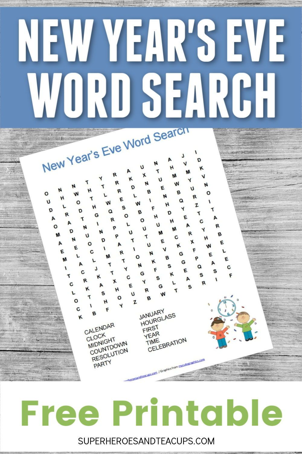 New Year's Eve Word Search Free Printable New year's eve