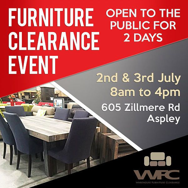 Warehouse Furniture Clearance Event Open To Public For 2 Days In Aspley
