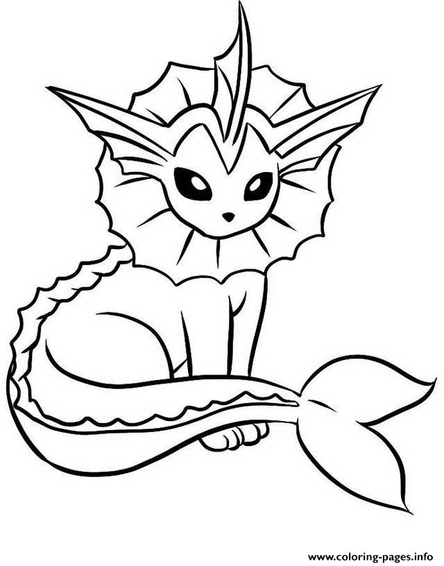 Pokemon Kleurplaten Vaporeon.Print Vaporeon Eevee Pokemon Evolutions Coloring Pages Eevee