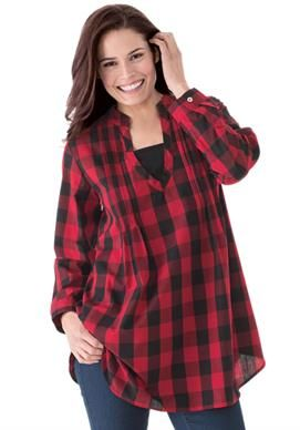 plaid layered-look tunic shirt with long sleeves, inset, front