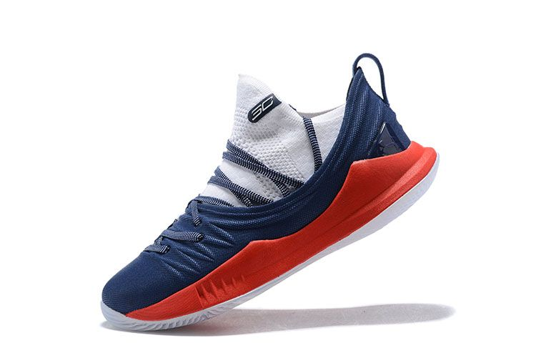 102de3cd8875 Latest Mens Under Armour Curry 5 Low Navy Blue Red White Basketball Shoes