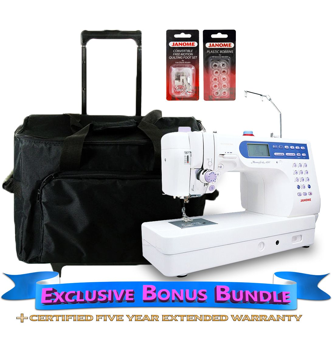 Janome Memory Craft 6500P Sewing Machine With Exclusive Bonus Bundle - Sew  Vac Direct