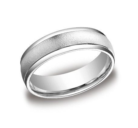 Benchmark 6MM Wire Finish Center Comfort Fit Wedding Band Ring MenWhite Gold