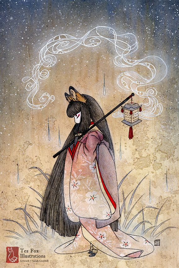 Bad Thoughts / Kitsune Fox Girl, Yokai / Japanese Asian Style / 4x6 Fine Art Print