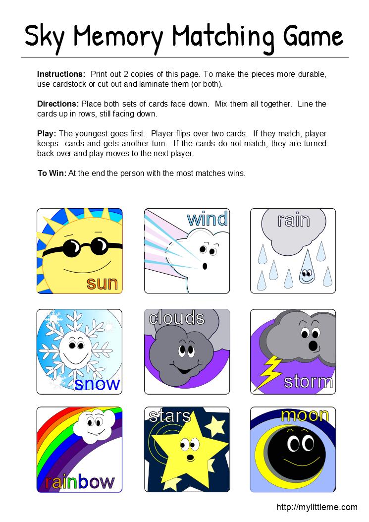 Sky Memory Matching Game Printable Winter classroom