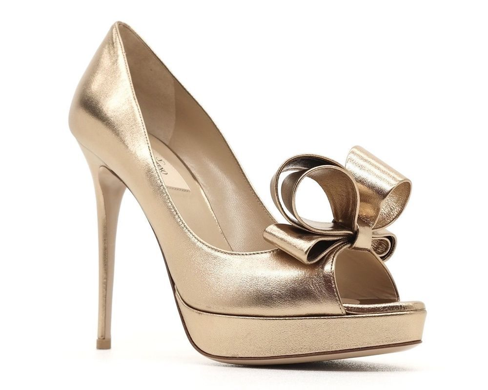 fbd0998f52a Valentino Garavani Pumps Couture Bow Gold Leather Size 8.5 38.5 NIB ...