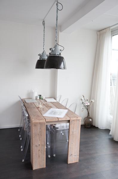 rustic table with industrial lamp lights pinterest eethoek