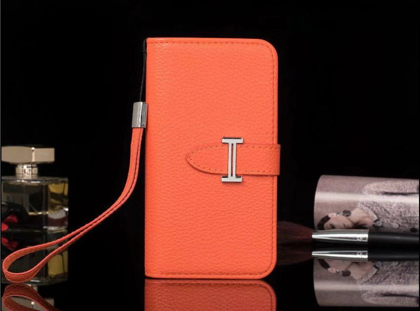 62eb18b0b0aad Hermes iPhone X 8 7 6S Plus Galaxy S8 7 6 Edge Note5 Wallet Flip Case Orange