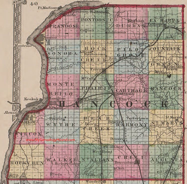 J O L L E Y S Of Hancock County Illinois 1870 Map Carthage Nauvoo