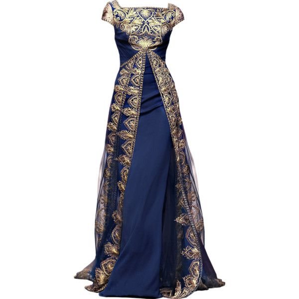 L - Gorgeous Navy and Gold evening gown. \