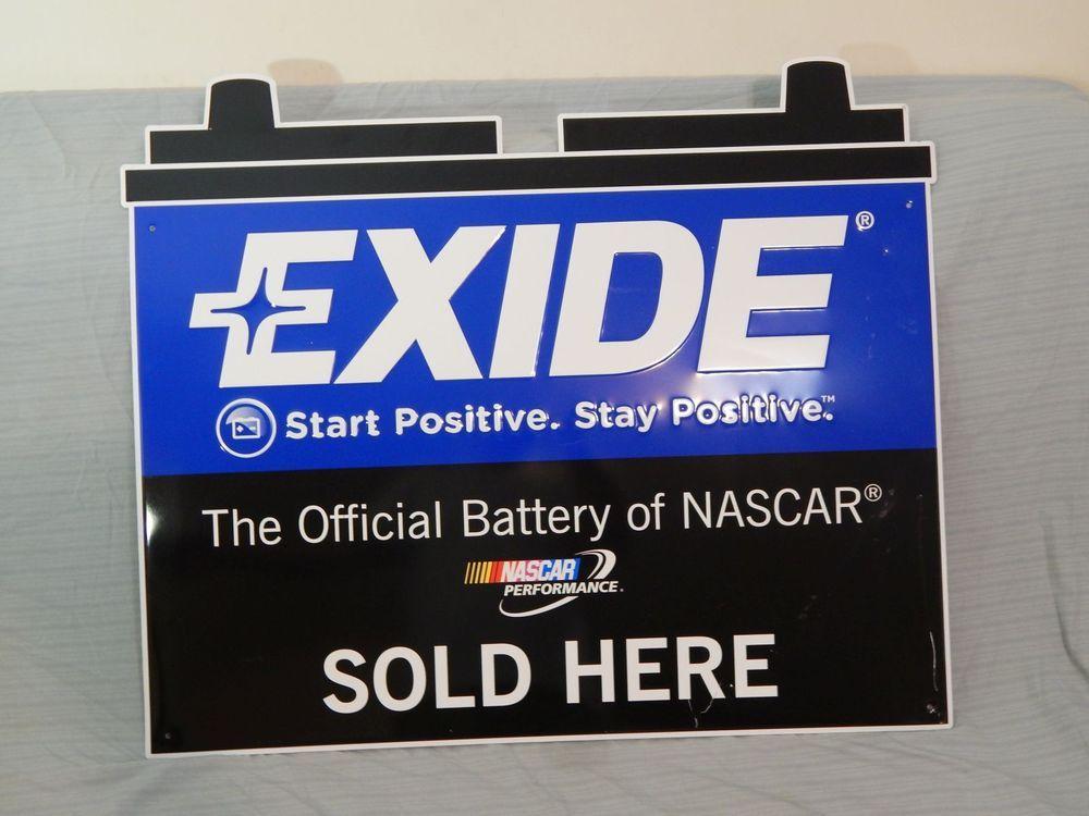 Exide Batteries Nascar Metal Embossed Sign Advertising Exide Advertising Signs Original Collectibles Advertising