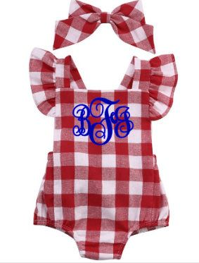 1b6afb97a4ea monogrammed baby girl romper red and white checkered summer