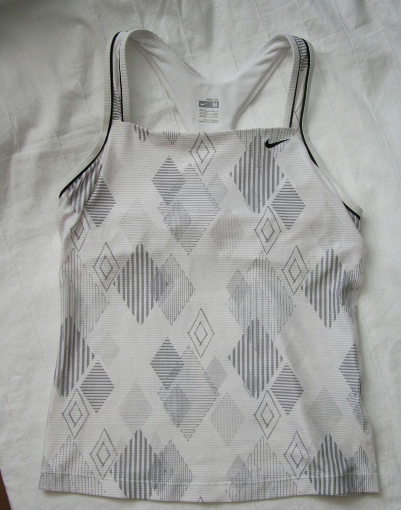 Nike fit dry athletic top size medium whitegrey with