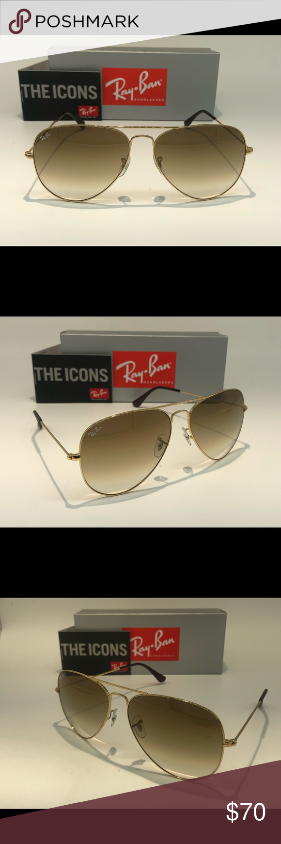 RayBan Aviator Series Frame Gold Lens Gradient Brown