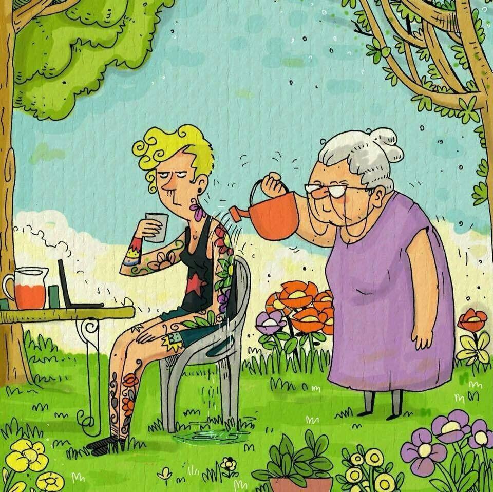 Картинки прикольные про внуков и бабушек