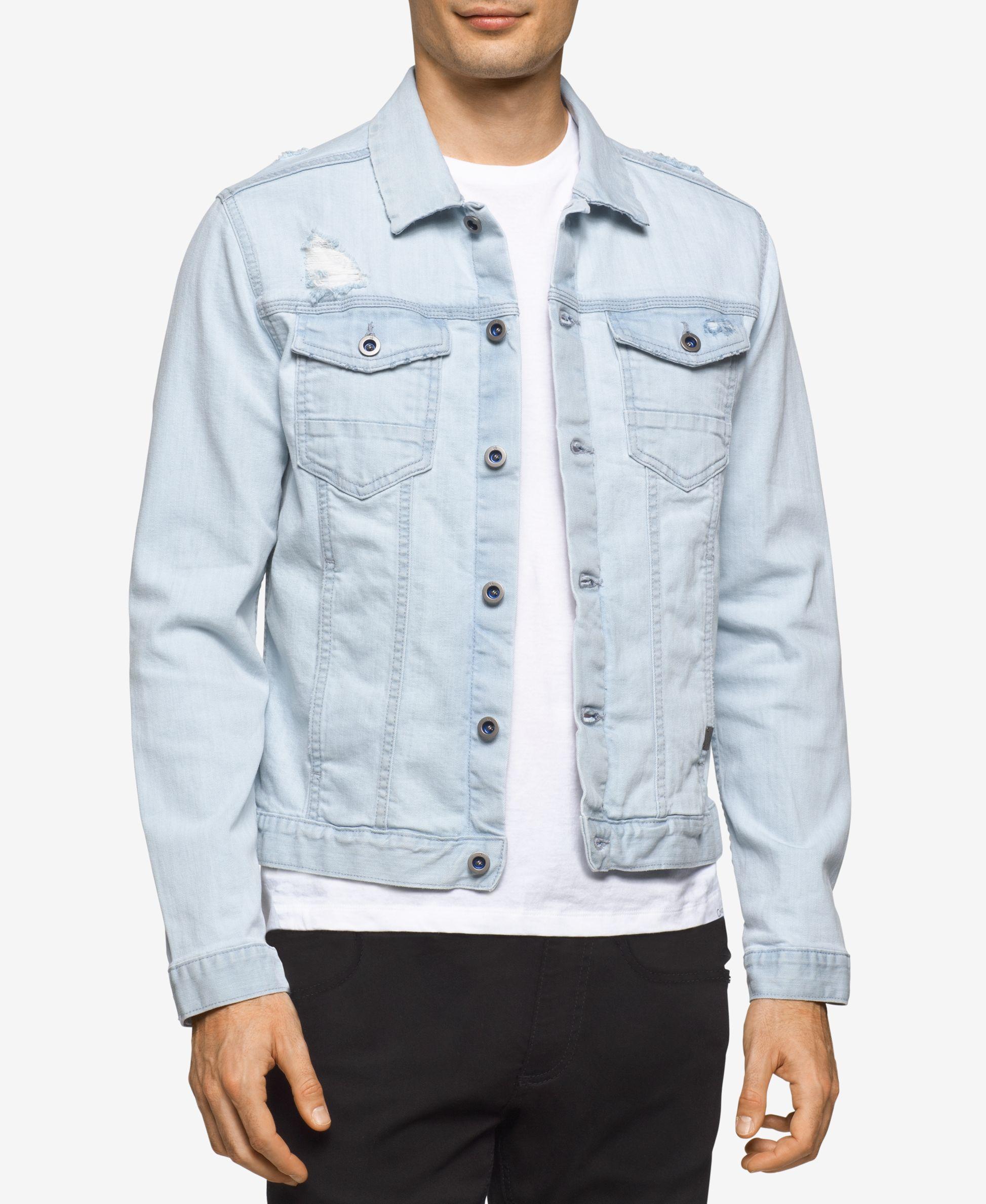 Calvin Klein Jeans Men S Clear Sky Denim Trucker Jacket White Denim Jacket Mens White Denim Jacket Calvin Klein Jeans [ 2378 x 1947 Pixel ]