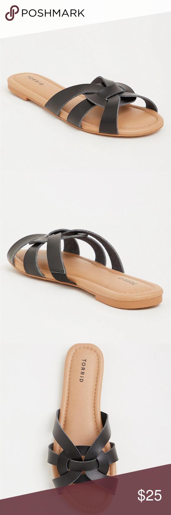 Wide Sandals Black Strappy Slides