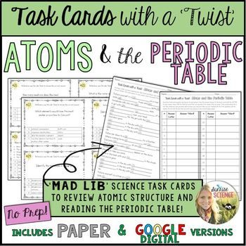 Atoms and the periodic table mad lib task cards google digital or atoms and the periodic table mad lib task cards google digital or paper urtaz Choice Image