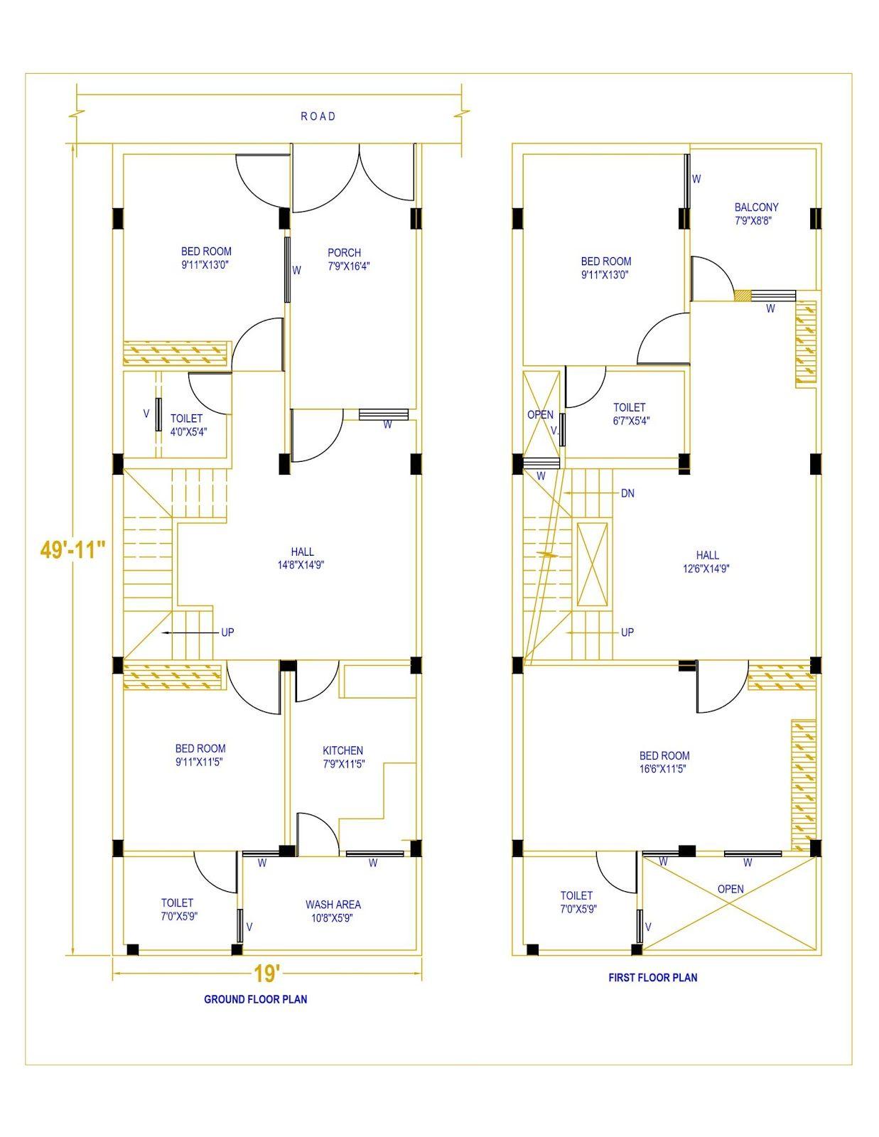 20 X 50 House Plan Housewala In 2020 Family House Plans 2bhk House Plan 20x40 House Plans