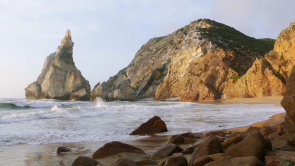 The Ocean Surf On An Empty Beach Between The Cliffs Ocean Surf Surfing Waves Ocean Shores