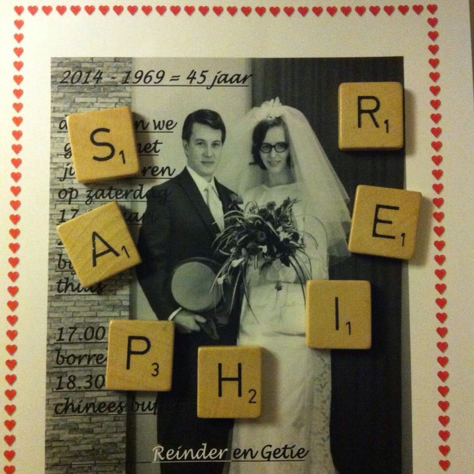 Mijn Ouders 45 Jaar Getrouwd Saphier Huwelijksjubileum Trouwkaart Versieringen