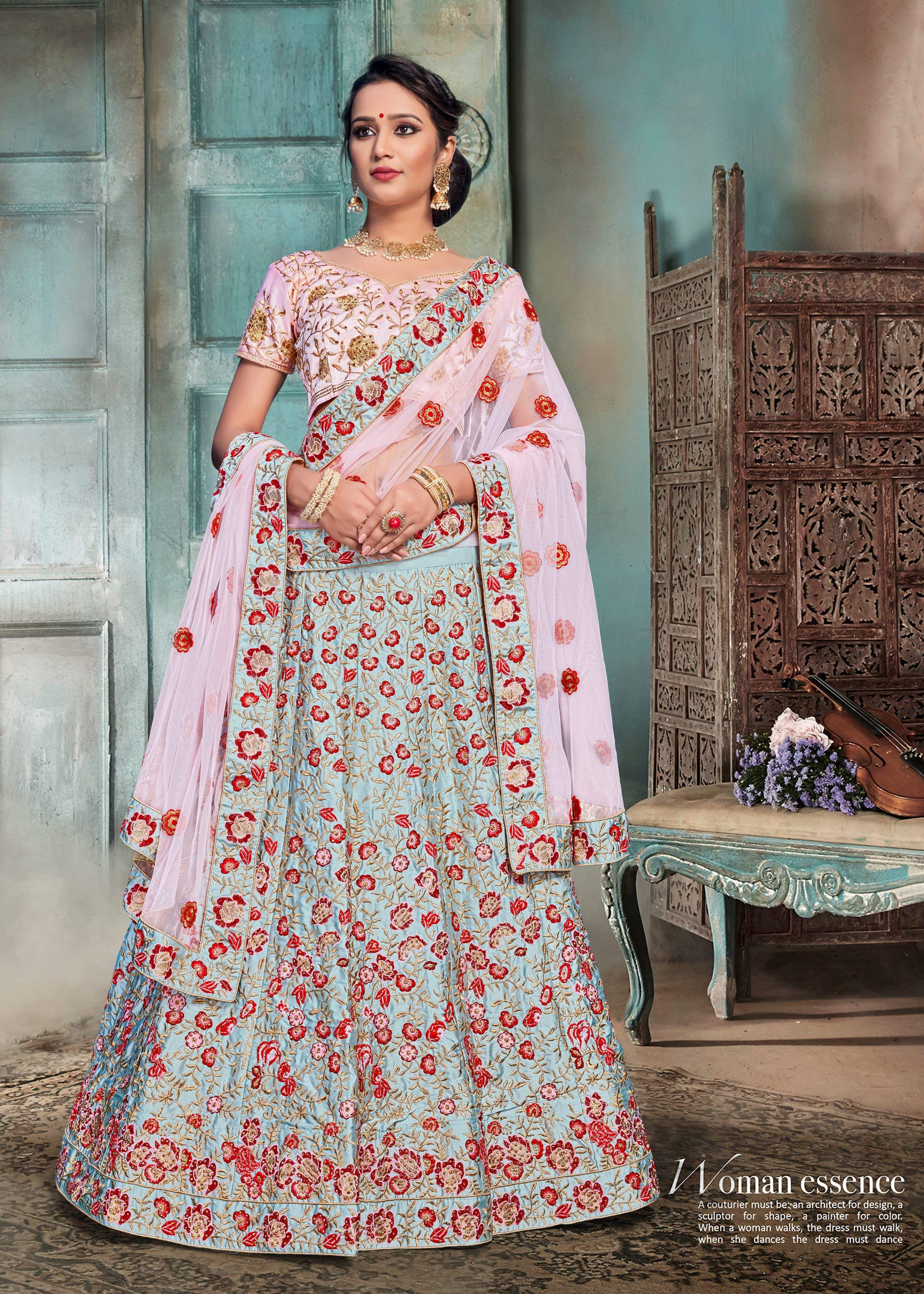 8702d2083 Nylon Satin Embroidery Bridal Lahenga in 2019