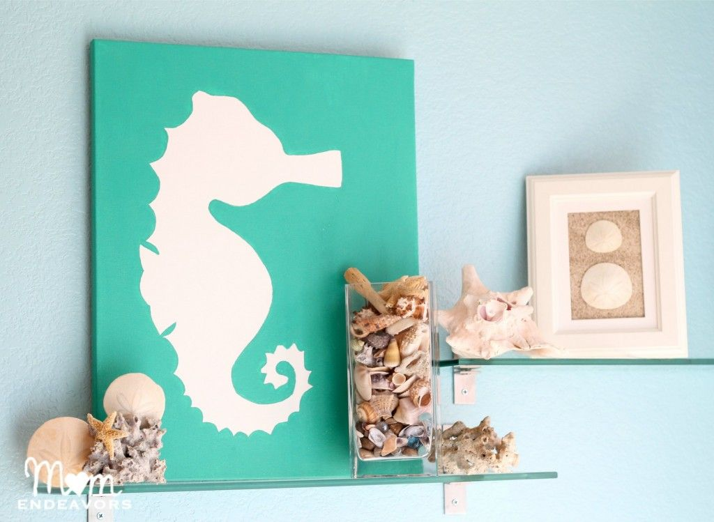 DIY Beach themed art on canvas using #seahorse motif. #beachart For more DIY